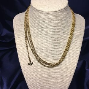 Gold three strand anchor necklace